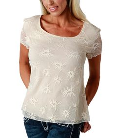 Take a look at this Pearl White Lace Lined Top - Women & Plus on zulily today!