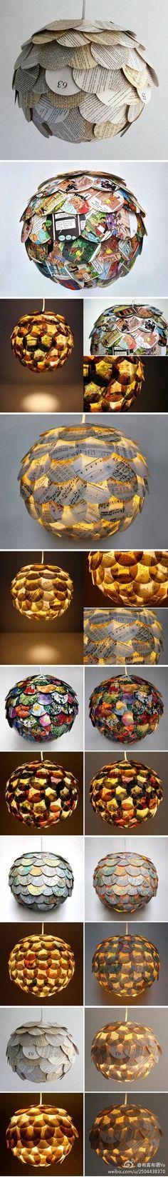 纽约建筑设计师 Allison Patrick 设计的吊灯~都是用不同的纸裁剪后粘贴成的,可是好有感觉呢~~