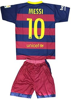 Kids FC Barcelona Messi 10 JerseyShorts Football Soccer DriFit Blue  Red Blue  Red 78 years >>> Check out the image by visiting the link.Note:It is affiliate link to Amazon.