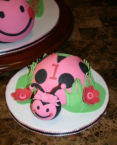 Baby girl's 1st Ladybug Birthday Smash Cake.