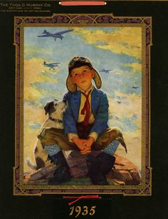 1935 EUGENE IVERD BOY PILOT & DOG AVIATION CALENDAR JUST WAIT TILL I GROW UP NR