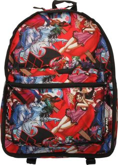 803c7f7821 Harley Quinn Reversible Batman Logo Backpack