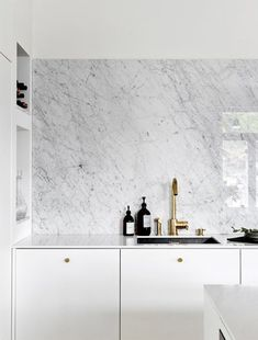 modern finnish design in a classic color palette. white and marble kitchen design with brass fixture Best Home Interior Design, Luxury Home Decor, Interior Design Kitchen, Interior Decorating, Modern Grey Kitchen, Grey Kitchen Designs, Modern Kitchen Design, Palette, Cuisines Design