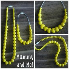 Mummy an Me yellow silicone teething nursing necklace set by Two Little Dimples - matching necklaces for Mother and Daughter! on Etsy, $40.00 AUD