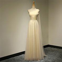 Dress A-line One Shoulder Floor-length Organza Dress – GBP £ 65.69