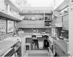 Kitchen view from villa in Norrköping by architect Sverre Fehn. Photo by Per Berntsen. Timber Architecture, Architecture Design, Kitchen Views, Small Buildings, Functional Kitchen, Kitchen Interior, Home Kitchens, Villa, House Ideas