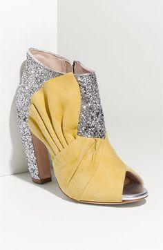 Miu Miu Glitter & Suede Bow Peep-Toe Ankle Boots For the Monday Peep Toe Ankle Boots, Bootie Boots, Shoe Boots, Cute Shoes, Me Too Shoes, Miu Miu Shoes, Glitter Shoes, Mellow Yellow, Crazy Shoes