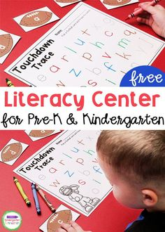 If you're looking for a new literacy center for your Pre-k or Kindergarten classroom, check out this fun football themed center that comes with letter cards and a tracking sheet so young learners can keep track of the letters they find. A great addition to your Kindergarten classroom! #literacycenters #kindergarten #prek #backtoschool