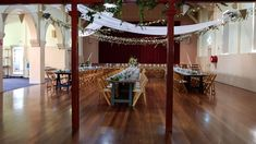 Vintage Timber Tables | Wooden Folding Chairs | Wedding reception | Berry School of Arts Botanic Art | South Coast Party Hire