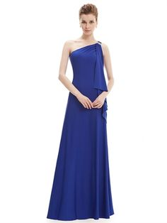 Blue One Shoulder Mermaid Floor Length Charming Long Prom Dress
