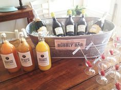 Bubbly Bar, Champagne Bar mixers. Grapefruit and Orange Mimosas and Peach Bellinis.