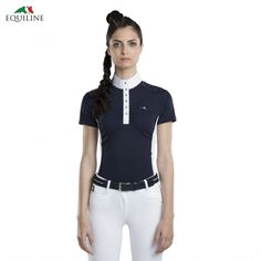 Equiline Nicole Competition Shirt - Navy, £69.99. Two-tone panels and stud details make this shirt uber-elegant.