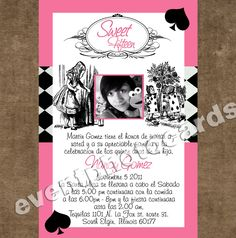 Alice In wonderland Sweet Sixteen Invitations http://www.eventphotocards.com/index.php?searchStr=alice+in+wonderland&_a=viewCat