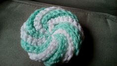 crocheted pierrot spiral scrubbie/tawashi from a free pattern on Ravelry