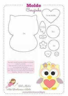 Felt owl pattern by Friends of the Felt Owl Crafts, Diy And Crafts, Crafts For Kids, Paper Crafts, Sewing Crafts, Sewing Projects, Craft Projects, Owl Sewing, Owl Templates