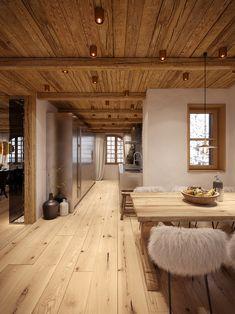 """Chalet """"Chesa Nimet"""" in St. Moritz - Home Design Barn Homes Floor Plans, Pole Barn House Plans, Pole Barn Homes, Pole Barns, Barn Plans, Chalet Design, House Design, Metal Building Homes, Building A House"""