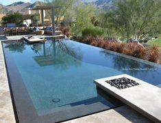 gorgeous zero edge pool, and I love the modern pergola