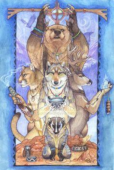 "Spirit Totem Animals:  ""Spirits Calling,"" by Goldenwolf, at deviantART."