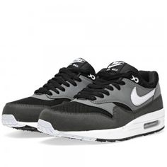 Azbu Nike Air Max 1 Running Shoes Mens Essential Black/Geyser Gray