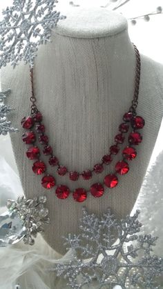 New GLAMAZON Collection in CRIMSON.  Layered by KissMySassJewelry, $95.00