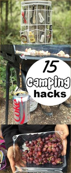 15 Camping Hacks. Tips and tricks to planning, organizing and packing for camping. Save time with these camping ideas. You'll definitely want to try the grape trick! #GreatTipsAndTricksForCamping