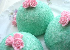 decorated aqua snow balls by Such Pretty Things