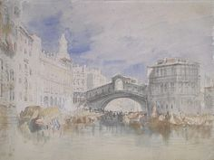 Joseph Mallord William Turner 'The Rialto, Venice', - Watercolour and chalk on paper - Dimensions Support: 227 x 302 mm - © The National Gallery of Scotland Joseph Mallord William Turner, Art Romantique, Turner Watercolors, Turner Painting, Watercolor Sketchbook, Watercolour, Royal Academy Of Arts, Postcard Art, English Artists