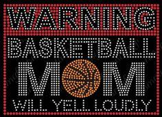 Warning Loud Mom Basketball Rhinestone Iron on Transfer Bling Team Applique   eBay