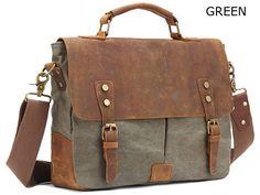 Vintage Style Canvas Leather Flap-over Messenger Bag