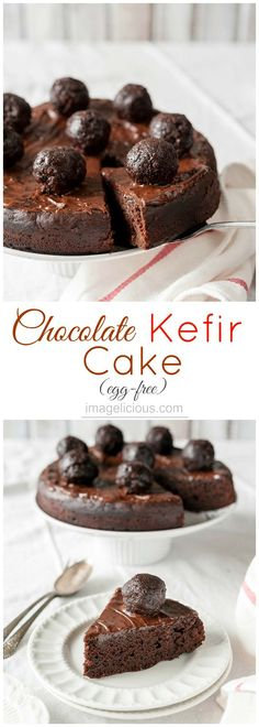 This Chocolate Kefir Cake is moist and delicious. It's lighter than regular chocolate cake but still has intense flavour and is perfect to end any meal. Great for Valentine's Day dessert Healthy Baking, Healthy Desserts, Delicious Desserts, Valentine's Day Quotes, Chocolate Desserts, Chocolate Cake, Chocolate Strawberries, Covered Strawberries, Chocolate Covered