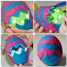wet felted easter eggs mosaic4