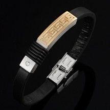 Dazzling-Greek-Stainless-Steel-Genuine-Leather-CZ-Mens-Bracelet