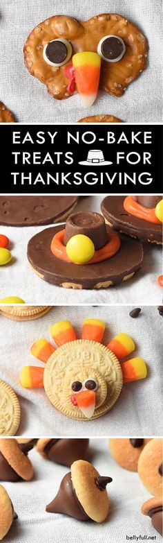Pilgrim Cookie Hats, Chocolate Acorns, Pretzel Turkeys, and Oreo Turkeys are the cutest Thanksgiving treats! No oven required and they take only minutes to make! (Sweet Recipes For Thanksgiving) Thanksgiving Cookies, Thanksgiving Crafts, Thanksgiving Parties, Thanksgiving Recipes For Kids To Make, Thanksgiving Baking, Fall Cookies, Family Thanksgiving, Thanksgiving Appetizers, Holiday Appetizers
