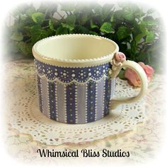 Whimsical Bliss Studios - Victorian Striped Mug in periwinkle