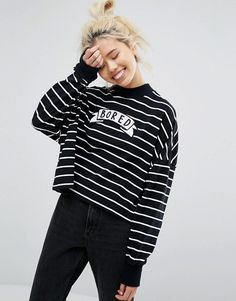Lazy Oaf Mono Oversized Bored Long Sleeve Top In Stripe