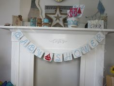 Red Sailboat Baby Shower Banner Sailboat Baby Shower Blue Baby Shower Banner by ItzMyParty on Etsy