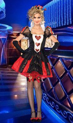 Women's Costumes :: Fairytale & Storybook Costumes :: Queen of Hearts Alice In Wonderland Ladies Fancy Dress Costume Outfit +Crown - Fancy Dress Costumes, Adult Costumes, Fancy Dress Costume Ideas