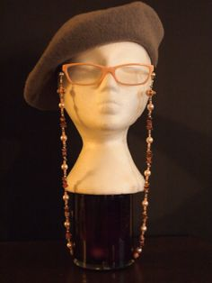 Pink and Pearl beaded Eyeglass Chain by TheFACEspace on Etsy, $20.00