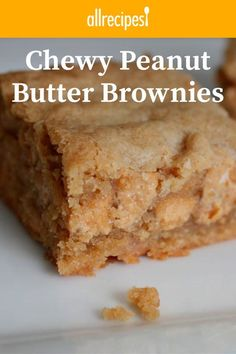 Chewy Peanut Butter Brownies Recipe - - These brownies have been a favorite in my family since I was a small child. Because they're so popular, I usually double the recipe. Great with chocolate frosting! Dessert Bars, Dessert Dishes, Chocolate Chip Cookie Dough, Chocolate Chips, Chocolate Frosting, Non Chocolate Desserts, Delicious Chocolate, Flourless Desserts, Chocolate Topping