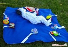 Outdoor Baby Blanket - will keep baby entertained while you garden. The snaps allow you to swap in new toys when baby gets bored, while the vinyl backing means baby will stay dry, even if the grass is damp.