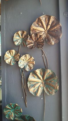 Lotus leaf stalks are split size pieces Size 25 cm to 80 cm Metal Wall Decor, Metal Wall Art, Wall Art Designs, Wall Design, Wall Sculptures, Sculpture Art, Wal Art, Home And Deco, Metal Walls