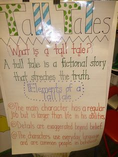 Tall Tales-anchor-Here is our anchor chart about tall tales. Boy have these kiddos loved tall tales. We covered John Henry, Pecos Bill, and Paul Bunyan. We barrowed Baloney from another teacher but our class needs to have one for further reference. Reading Genres, Reading Skills, Teaching Reading, Reading Strategies, Teaching Ideas, Learning, Student Teaching, Tall Tales Activities, Third Grade Reading