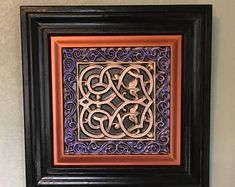 Purple with copper and rose gold Celtic Ceiling tile, Irish Lovers Knot, Framed, x Show your Custom Wood, Custom Paint, Copper Ceiling Tiles, Celtic Decor, Wreath Boxes, Custom Christmas Ornaments, Copper Decor, Ultra Violet, Custom Framing