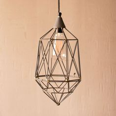 If you like light to hit you at all kinds of angles, this small wire pendant will do just that. With an open, geometric shape, it lets the Edison bulb play center stage.  Find the Live Wire Pendant—Small, as seen in the Best of 2014: Edison Bulbs Collection at http://dotandbo.com/collections/encore-edison-bulbs?utm_source=pinterest&utm_medium=organic&db_sku=89361