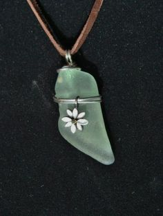 "Seafoam Green Beach Glass Pendant, Wire Wrapped, on 18"" Leather  Necklace"