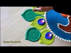 Beautiful diya peacock feather rangoli for diwali l diwali rangoli designs 2019 l kolam l रंगोली Diwali Ki Rangoli, Indian Rangoli, Diwali Craft, Rangoli Designs Diwali, Rangoli Designs Latest, Colorful Rangoli Designs, Beautiful Rangoli Designs, Rangoli Simple, Rangoli With Dots