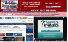 Brooklands Radio interview Private Investigator Olivia Ellenger of Answers Investigation on Surrey Business Affairs: http://www.answers.uk.com/admin/brooklandsfm150305.htm Tel: 01932 690337