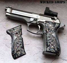 "CUSTOM BERETTA 92FS GRIPS ""GEMSTONE SERIES"" BLACK DIAMONDS - Wicked Grips…"