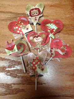 """Valentine cards aged to look old. Attached to suckers. Made these  for my son to pass out at school. They turned out so adorable. """"2013"""""""