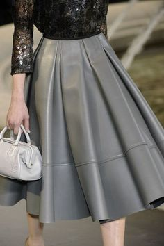 Holiday Inspiration -- Louis Vuitton Fall 2010 Gray Leather Skirt and Black Sequin Top.